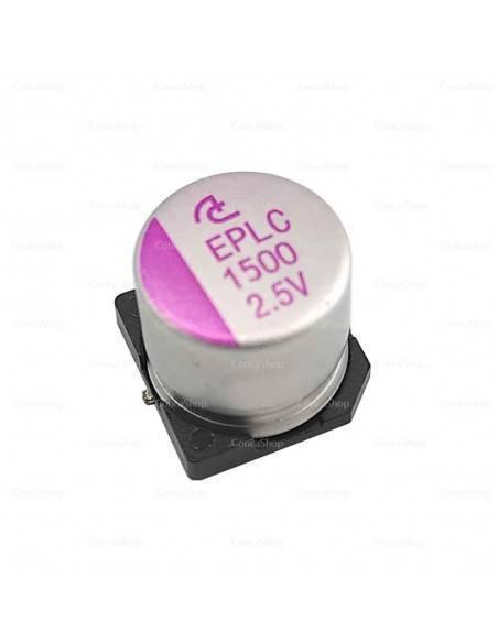 Condensador aluminio estado sólido SMD EPLC 2.5V 1500uF 105º
