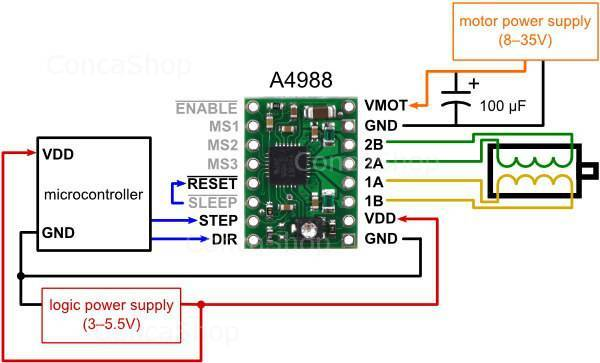 minimal wiring diagram for connecting a microcontroller to an a4988 stepper  motor driver carrier (full-step mode)